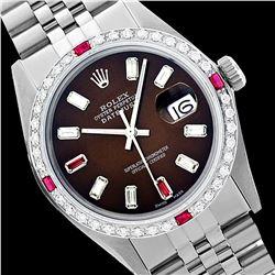 Rolex Men's Stainless Steel, QuickSet, Diam/Ruby Dial & Diam/Ruby Bezel - REF-527W3H