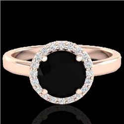 2 CTW Halo VS/SI Diamond Micro Pave Ring Solitaire 14K Rose Gold - REF-70T4M - 21619