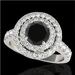 2.25 CTW Certified VS Black Diamond Solitaire Halo Ring 10K White Gold - REF-116K9W - 34214