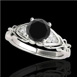 1.1 CTW Certified VS Black Diamond Solitaire Ring 10K White Gold - REF-50T9M - 35203
