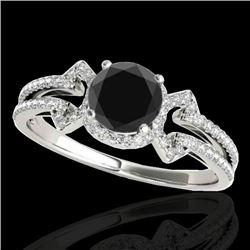 1.36 CTW Certified VS Black Diamond Solitaire Ring 10K White Gold - REF-67X3T - 35325