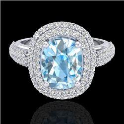 3.50 CTW Topaz & Micro Pave VS/SI Diamond Halo Ring 10K White Gold - REF-94K9W - 20709
