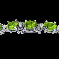 26.3 CTW Peridot & VS/SI Certified Diamond Eternity Bracelet 10K White Gold - REF-174T4M - 29457