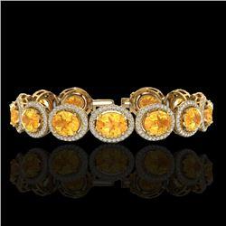 24 CTW Citrine & Micro Pave VS/SI Diamond Bracelet 10K Yellow Gold - REF-360M2H - 22685