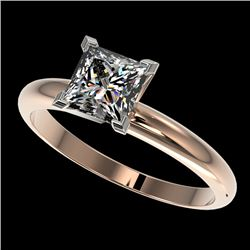 1.25 CTW Certified VS/SI Quality Princess Diamond Solitaire Ring 10K Rose Gold - REF-372H3A - 32917