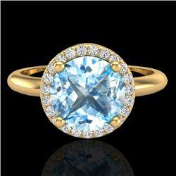 2.70 CTW Sky Blue Topaz & Micro VS/SI Diamond Ring Designer Halo 18K Yellow Gold - REF-58W9F - 23216