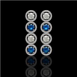 5.42 CTW Blue & White Diamond Designer Earrings 18K White Gold - REF-685T3M - 42593