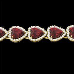25 CTW Garnet & Micro Pave VS/SI Diamond Bracelet Heart Halo 14K Yellow Gold - REF-376M8H - 22617