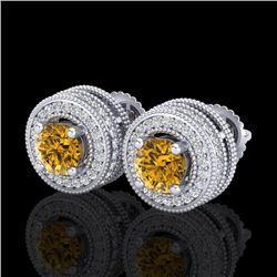 2.09 CTW Intense Fancy Yellow Diamond Art Deco Stud Earrings 18K White Gold - REF-218F2N - 38015