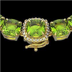 100 CTW Peridot & VS/SI Diamond Halo Micro Solitaire Necklace 14K Yellow Gold - REF-528F9N - 23355