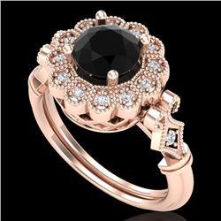 1.2 CTW Fancy Black Diamond Solitaire Engagement Art Deco Ring 18K Rose Gold - REF-123H6A - 37829