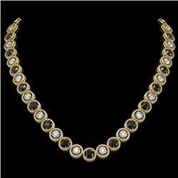 32.10 CTW Black & White Diamond Designer Necklace 18K Yellow Gold - REF-3276T2M - 42607