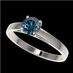 0.76 CTW Certified Intense Blue SI Diamond Solitaire Engagement Ring 10K White Gold - REF-70K5W - 36