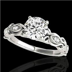 1.1 CTW H-SI/I Certified Diamond Solitaire Antique Ring 10K White Gold - REF-156K4W - 34630