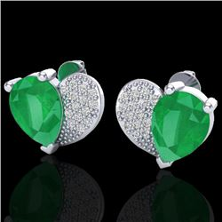 2.50 CTW Emerald & Micro Pave VS/SI Diamond Earrings 10K White Gold - REF-33A8X - 20072