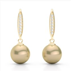 0.18 CTW Micro Pave VS/SI Diamond & Golden Pearl Designer Earrings 18K Yellow Gold - REF-34X5T - 226