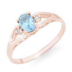 0.53 CTW Blue Topaz & Diamond Ring 14K Rose Gold - REF-14F9N - 12497
