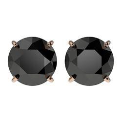 2.60 CTW Fancy Black VS Diamond Solitaire Stud Earrings 10K Rose Gold - REF-52A8X - 36684