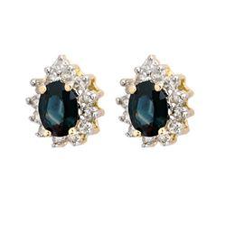 4.05 CTW Blue Sapphire & Diamond Earrings 14K Yellow Gold - REF-65F6N - 10236