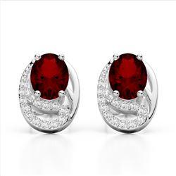 2.50 Garnet & Micro Pave VS/SI Diamond Stud Earrings 10K White Gold - REF-25T6M - 22334