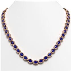 34.11 CTW Sapphire & Diamond Halo Necklace 10K Rose Gold - REF-537Y5K - 40407
