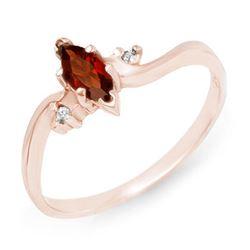0.29 CTW Garnet & Diamond Ring 14K Rose Gold - REF-15F8N - 12434
