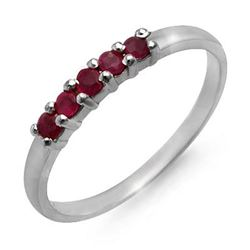 0.25 CTW Ruby Ring 18K White Gold - REF-16N8Y - 12636