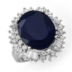 16.66 CTW Blue Sapphire & Diamond Ring 18K White Gold - REF-224F2N - 12936