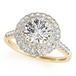 1.5 CTW Certified VS/SI Diamond Solitaire Halo Ring 18K Yellow Gold - REF-229Y5K - 26454