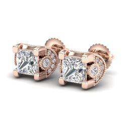 2.5 CTW Princess VS/SI Diamond Art Deco Stud Earrings 18K Rose Gold - REF-642N2Y - 37152