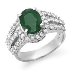4.70 CTW Emerald & Diamond Ring 18K White Gold - REF-134A9X - 13295