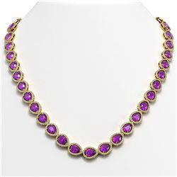 35.13 CTW Amethyst & Diamond Halo Necklace 10K Yellow Gold - REF-586M9H - 41083