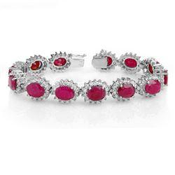 42.12 CTW Ruby & Diamond Bracelet 14K White Gold - REF-618H2A - 14054