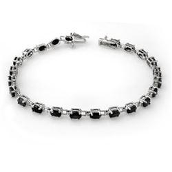 9.10 CTW Blue Sapphire Bracelet 10K White Gold - REF-46K5W - 13572