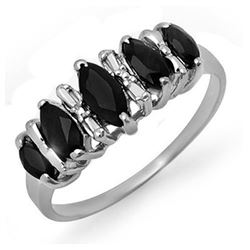 1.02 CTW Blue Sapphire Ring 18K White Gold - REF-30W5F - 12665
