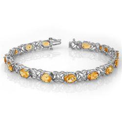 10.65 CTW Citrine & Diamond Bracelet 14K White Gold - REF-80H5A - 10522