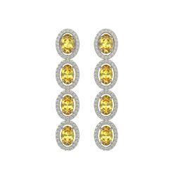 5.4 CTW Fancy Citrine & Diamond Halo Earrings 10K White Gold - REF-102N2Y - 40544