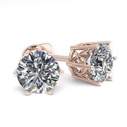 1.50 CTW Certified VS/SI Diamond Stud Solitaire Earrings 18K Rose Gold - REF-298F8N - 35837