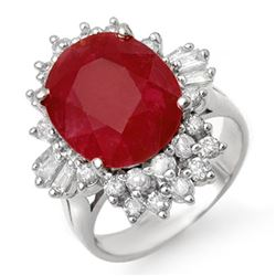 6.30 CTW Ruby & Diamond Ring 18K White Gold - REF-134N4Y - 13064