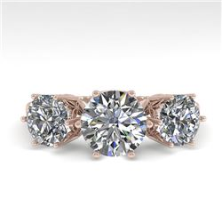 2 CTW Solitaire Past Present Future VS/SI Diamond Ring 18K Rose Gold - REF-414Y2K - 35909