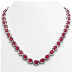 52.15 CTW Ruby & Diamond Halo Necklace 10K White Gold - REF-655T3M - 40556