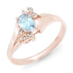 0.52 CTW Blue Topaz & Diamond Ring 10K Rose Gold - REF-14H5A - 12397