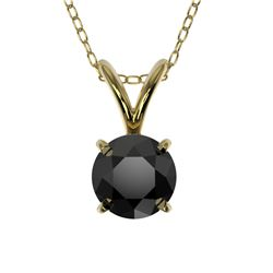 0.50 CTW Fancy Black VS Diamond Solitaire Necklace 10K Yellow Gold - REF-16X5T - 33158