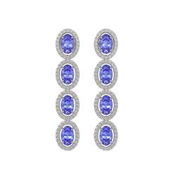 6.09 CTW Tanzanite & Diamond Halo Earrings 10K White Gold - REF-122W2F - 40511