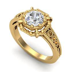 1 CTW VS/SI Diamond Solitaire Art Deco Ring 18K Yellow Gold - REF-318A3X - 36874