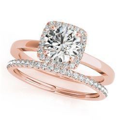 1.08 CTW Certified VS/SI Diamond 2Pc Wedding Set Solitaire Halo 14K Rose Gold - REF-200K2W - 30733