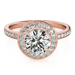 1.08 CTW Certified VS/SI Diamond Solitaire Halo Ring 18K Rose Gold - REF-200H2A - 26986