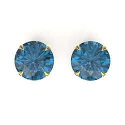 4 CTW London Blue Topaz Designer Solitaire Stud Earrings 18K Yellow Gold - REF-30H2A - 21830