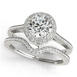 1.80 CTW Certified VS/SI Diamond 2Pc Wedding Set Solitaire Halo 14K White Gold - REF-422K2W - 30813