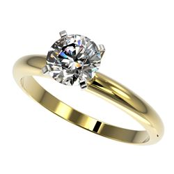 1.26 CTW Certified H-SI/I Quality Diamond Solitaire Engagement Ring 10K Yellow Gold - REF-290H9A - 3